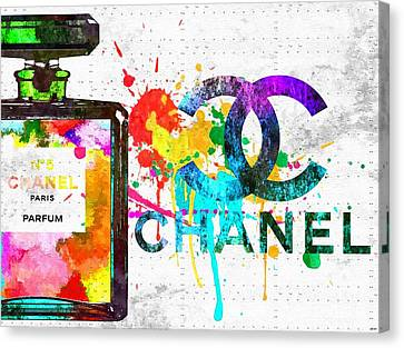 Coco Chanel No. 5 Grunge Canvas Print