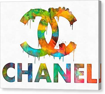Glamor Canvas Print - Coco Chanel Paint Splatter Color by Dan Sproul