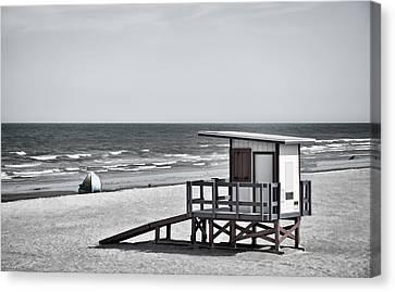 Breaking Rules Canvas Print - Cocoa Beach - Life Guard Shack - Florida - B/w by Greg Jackson