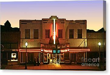 Cody Wy - Historic Theater Canvas Print by Linda  Parker