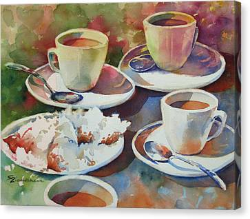 Coffee And Beignets Canvas Print by Sue Zimmermann