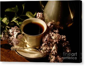Coffee And Lilacs In The Morning Canvas Print by Lois Bryan