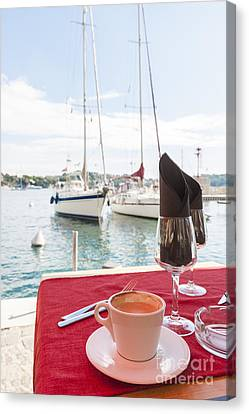 Coffee At Mediterranean Harbour Canvas Print
