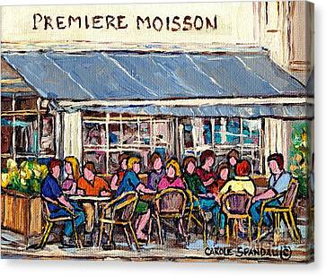 Coffee At Premiere Moisson Open Air Terrace Rue Bernard Original Paris Style Cafe Art Carole Spandau Canvas Print