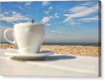 Canvas Print - Coffee At The Beach by Patricia Hofmeester