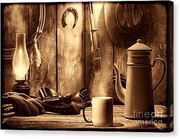 Coffee At The Cabin Canvas Print by American West Legend By Olivier Le Queinec