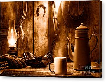 Coffee At The Cabin - Sepia Canvas Print by Olivier Le Queinec