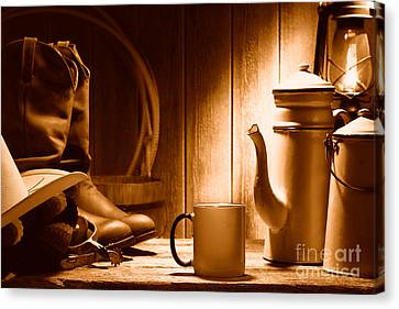 Coffee At The Ranch - Sepia Canvas Print by Olivier Le Queinec
