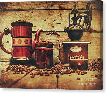 Enjoyment Canvas Print - Coffee Bean Grinder Beside Old Pot by Jorgo Photography - Wall Art Gallery