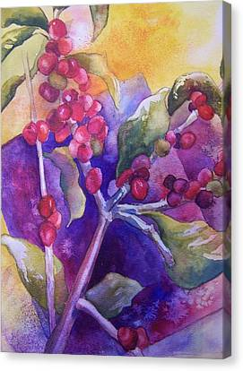 Canvas Print featuring the painting Coffee Berries by Sandy Collier