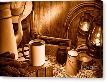 Coffee Break At The Chuck Wagon - Sepia Canvas Print by Olivier Le Queinec