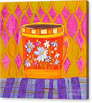 Coffee Cup - Floral Eclectic Design - Funky Colors Illustration Canvas Print by Patricia Awapara