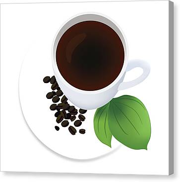 Coffee Cup On Saucer With Beans Canvas Print