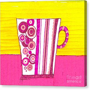 Coffee Cup - Teacup - Pink Circle And Lines Modern Design Illustration Art Canvas Print by Patricia Awapara