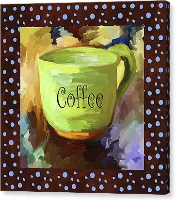 Coffee Cup With Blue Dots Canvas Print by Jai Johnson