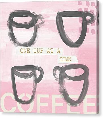 Coffee Cups Pink- Art By Linda Woods Canvas Print