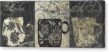 Coffee Flavors Gold And Black Canvas Print by Mindy Sommers