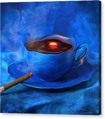 Cigar Canvas Print - Coffee For Mister Klein by Floriana Barbu
