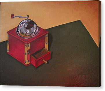 Canvas Print featuring the painting Coffee Grinder by Lori Miller
