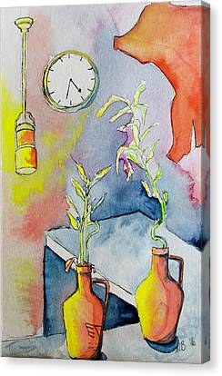 Coffee House Counter With Plants And Clock Canvas Print by Melissa Brazeau