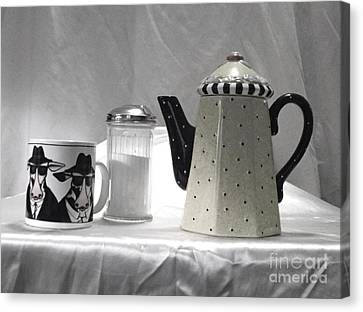 Canvas Print featuring the photograph Coffee In Black And White by Donna Dixon