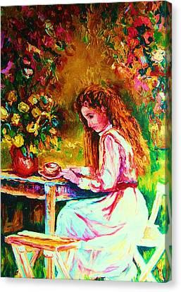 Coffee In The Garden Canvas Print by Carole Spandau