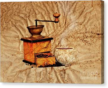 Coffee Mill And Beans Canvas Print by Michal Boubin
