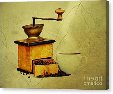 Coffee Mill And Cup Of Hot Black Coffee Canvas Print by Michal Boubin