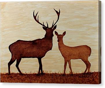Coffee Painting Deer Love Canvas Print by Georgeta  Blanaru