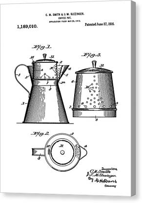 Coffee Pot Patent 1916  Canvas Print by Bill Cannon