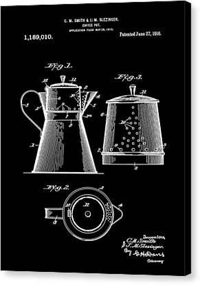 Coffee Pot Patent 1916 Black Canvas Print by Bill Cannon