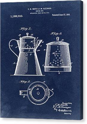 Coffee Pot Patent 1916 Blue Canvas Print by Bill Cannon