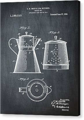 Coffee Pot Patent 1916 Chalk Canvas Print by Bill Cannon