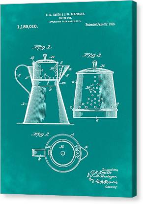 Coffee Pot Patent 1916 Green Canvas Print by Bill Cannon