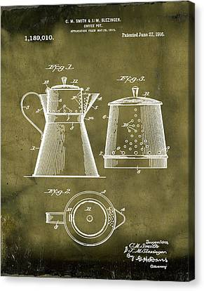 Coffee Pot Patent 1916 Grunge Canvas Print by Bill Cannon