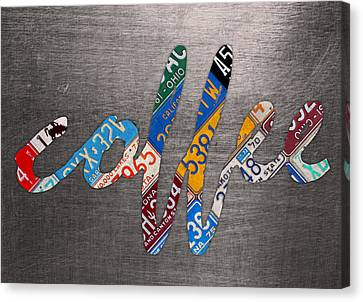 Coffee Sign Recycled Vintage License Plate Metal On Aluminum Sheet Canvas Art Canvas Print