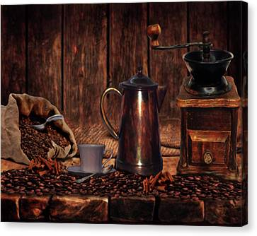 Coffee Time Canvas Print by Wishes and Whims Originals By Michelle Jensen
