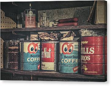 Shelf Canvas Print - Coffee Tins All In A Row by Scott Norris