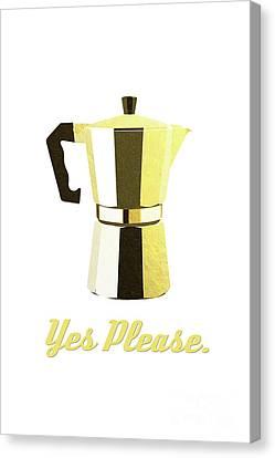 Italian Kitchen Canvas Print - Coffee? Yes Please. by Krokoneil