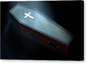 Graveyard Canvas Print - Coffin And Crucifix by Allan Swart
