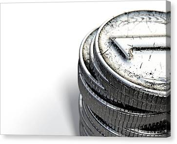 Coin Number One Stack Canvas Print by Allan Swart