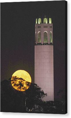 Coit Tower And Harvest Moon Canvas Print