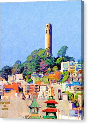 Bayarea Canvas Print - Coit Tower And The Empress Of China - Photo Artwork by Wingsdomain Art and Photography