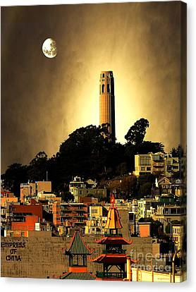 Coit Tower And The Empress Of China Under The Golden Moonlight Canvas Print by Wingsdomain Art and Photography
