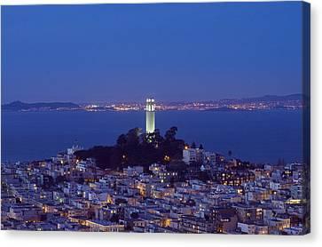 Coit Tower At Dusk San Francisco California Canvas Print by Carol M Highsmith