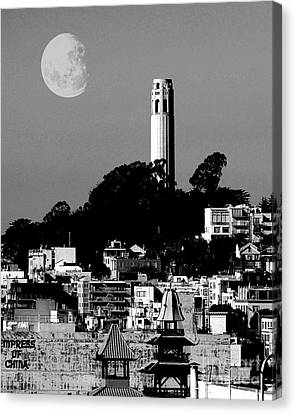 Big Moon Canvas Print - Coit Tower Empress Of China And The Moon - Black And White by Wingsdomain Art and Photography