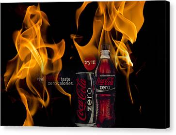 Coca-cola Fire Canvas Print by Kathy Paynter