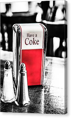 Canvas Print featuring the photograph Coke Napkins by Karol Livote