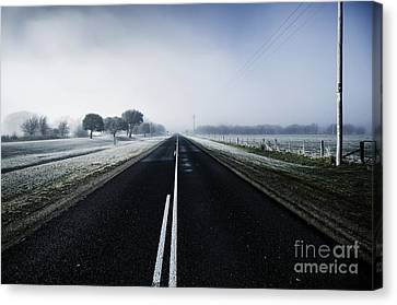 Cold Blue Winter Road Canvas Print by Jorgo Photography - Wall Art Gallery