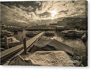 Cold Boats  Canvas Print by Rob Hawkins